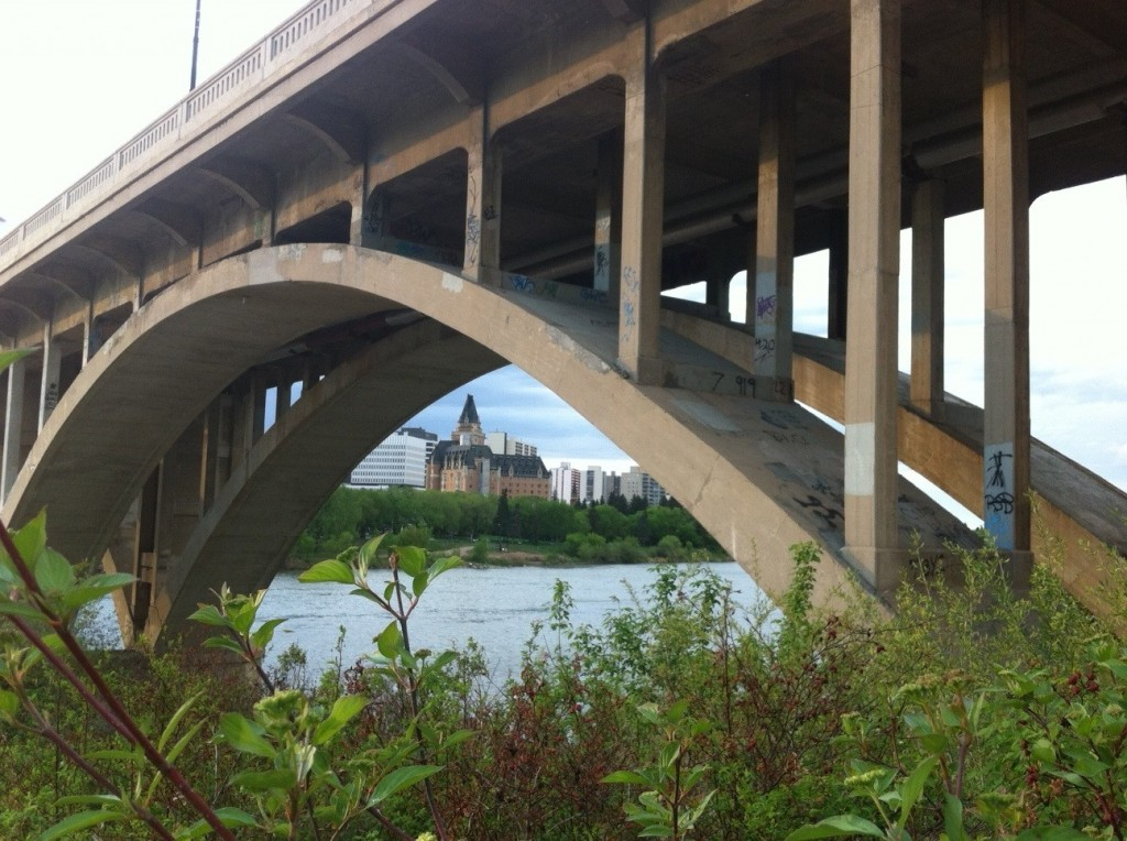 A cool shot of the 'castle on the river' in Saskatoon