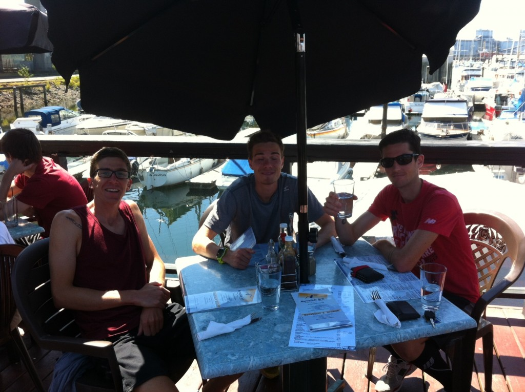 Me, Kelly, and Rob getting down to some grub at Marina Side Grill after Rob  killed a 35k tempo in Stanley Pk